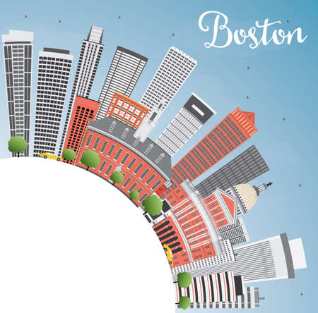 Boston Skyline with Buildings, Blue Sky and Copy Space. Vector Illustration. Business Travel and Tourism Concept with Modern Buildings. Image for Presentation Banner Placard and Web Site.