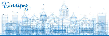 winnipeg: Outline Winnipeg Skyline with Blue Buildings. Vector Illustration. Business Travel and Tourism Concept with Modern Buildings. Image for Presentation Banner Placard and Web Site.