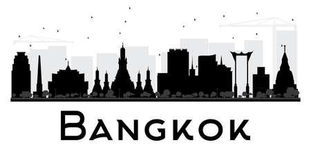 Bangkok City de noir de l'horizon et la silhouette blanche. Vector illustration. concept de plat simple pour le tourisme présentation, bannière, affiche ou d'un site web. concept de Voyage d'affaires. Paysage urbain avec des repères Banque d'images - 58042680