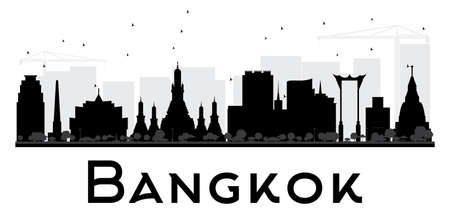 Bangkok City skyline black and white silhouette. Vector illustration. Simple flat concept for tourism presentation, banner, placard or web site. Business travel concept. Cityscape with landmarks