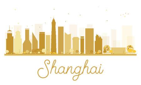 shanghai skyline: Shanghai City skyline golden silhouette. Vector illustration. Simple flat concept for tourism presentation, banner, placard or web site. Shanghai isolated on white background Illustration