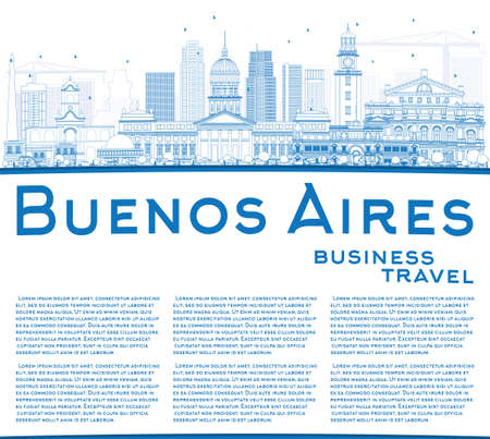 buenos aires: Outline Buenos Aires Skyline with Blue Landmarks and Copy Space. Vector Illustration. Illustration