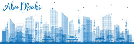 sky scrapers: Outline Abu Dhabi City Skyline with Blue Buildings. Vector Illustration. Business Travel and Tourism Concept? with Modern Buildings. Image for Presentation, Banner, Placard and Web Site. Illustration