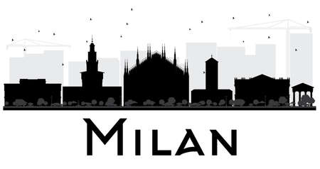 milánó: Milan City skyline black and white silhouette. Vector illustration. Simple flat concept for tourism presentation, banner, placard or web site. Business travel concept. Cityscape with landmarks