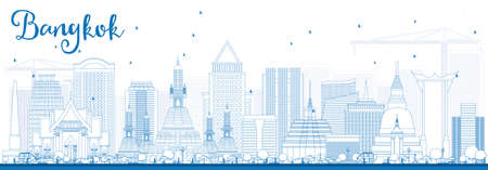thai architecture: Outline Bangkok Skyline with Blue Landmarks. Vector Illustration. Business Travel and Tourism Concept with Bangkok City. Image for Presentation Banner Placard and Web Site.
