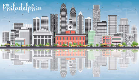 Philadelphia Skyline with Gray Buildings, Blue Sky and Reflections. Vector Illustration. Business Travel and Tourism Concept with Philadelphia City Buildings. Image for Presentation Banner Placard and Web Site.