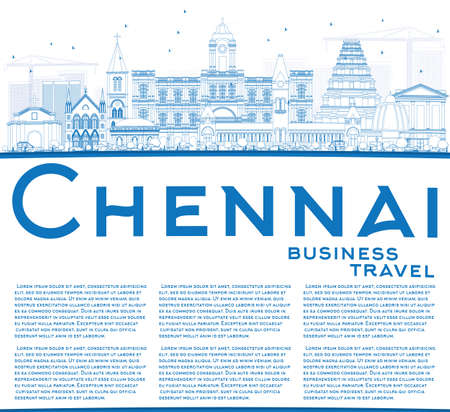 Outline Chennai Skyline with Blue Landmarks and Copy Space. Vector Illustration. Business Travel and Tourism Concept with Historic Buildings. Image for Presentation Banner Placard and Web Site.