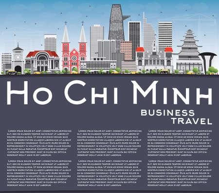 The landscape of Saigon: Minh Skyline Hồ Chí với Tòa nhà màu xám và Space Copy. Vector Illustration. Kinh doanh Du lịch và Lữ Concept với tòa nhà hiện đại. Hình ảnh cho Presentation Banner báo hiệu nguy hiểm và trang web.