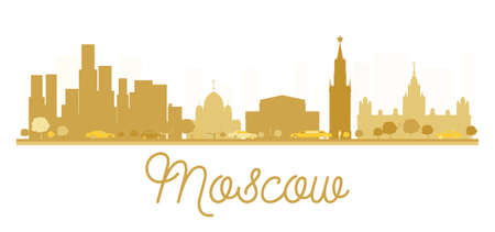 moscow city: Moscow City skyline golden silhouette. Vector illustration. Simple flat concept for tourism presentation, banner, placard or web site. Moscow isolated on white background