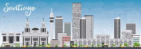 Santiago du Chili Skyline avec gris Bâtiments et Blue Sky. Vector Illustration. Voyage d'affaires et du tourisme Concept avec des bâtiments modernes. Photo pour Présentation Bannière Pancarte et du site Web. Vecteurs