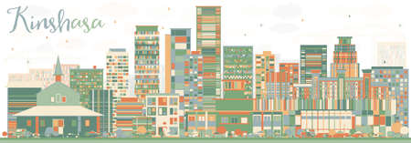 panorama city: Abstract Kinshasa Skyline with Color Buildings. Vector Illustration. Business Travel and Tourism Concept with Historic Buildings. Image for Presentation Banner Placard and Web Site.