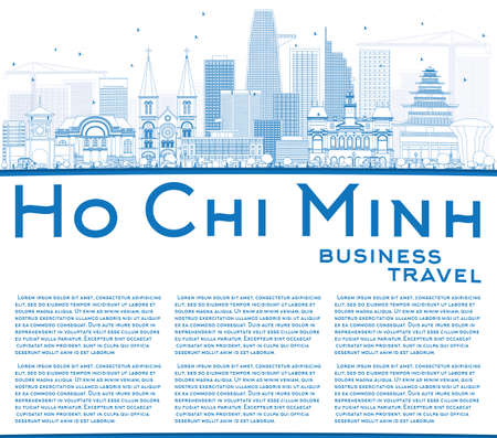 chi: Outline Ho Chi Minh Skyline with Blue Buildings and Copy Space. Vector Illustration. Business Travel and Tourism Concept with Modern Buildings. Image for Presentation Banner Placard and Web Site. Illustration