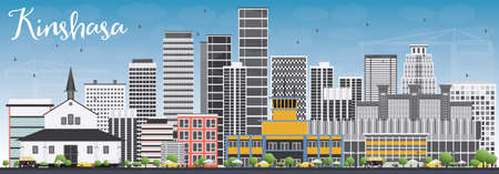 panorama city: Kinshasa Skyline with Gray Buildings and Blue Sky. Vector Illustration. Business Travel and Tourism Concept with Historic Buildings. Image for Presentation Banner Placard and Web Site.