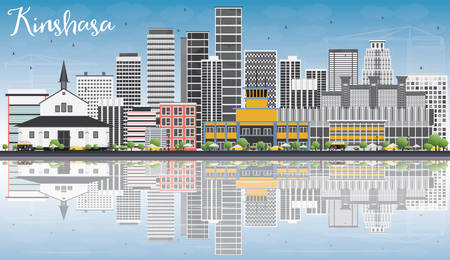 panorama city: Kinshasa Skyline with Gray Buildings, Blue Sky and Reflections. Vector Illustration. Business Travel and Tourism Concept with Historic Buildings. Image for Presentation Banner Placard and Web Site.
