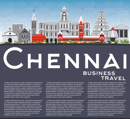 Chennai Skyline with Gray Landmarks, Blue Sky and Copy Space. Vector Illustration. Business Travel and Tourism Concept with Historic Buildings. Image for Presentation Banner Placard and Web Site. Illustration