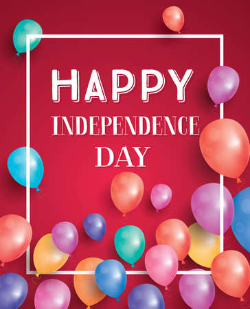 American Independence Day. Background with balloons for greeting cards. Vector illustration.