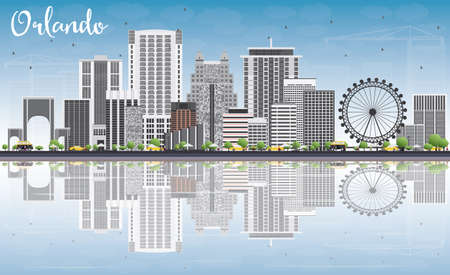 Orlando Skyline with Gray Buildings, Blue Sky and Reflections. Vector Illustration. Business Travel and Tourism Concept with Orlando City. Image for Presentation Banner Placard and Web Site.