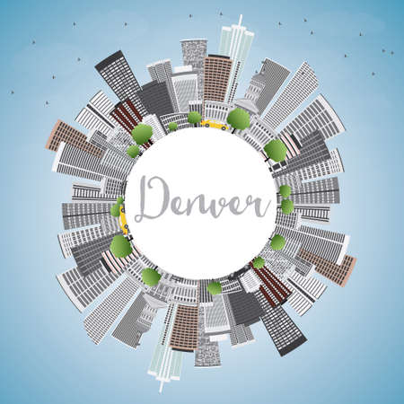 denver colorado: Denver Skyline with Gray Buildings, Blue Sky and Copy Space. Vector Illustration. Business Travel and Tourism Concept with Modern Buildings. Image for Presentation Banner Placard and Web Site.