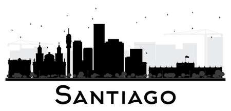 santiago: Santiago City skyline black and white silhouette. Vector illustration. Simple flat concept for tourism presentation, banner, placard or web site. Cityscape with landmarks Illustration