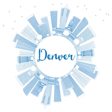 denver buildings: Outline Denver Skyline with Blue Buildings and Copy Space. Vector Illustration. Business Travel and Tourism Concept with Modern Buildings. Image for Presentation Banner Placard and Web Site.