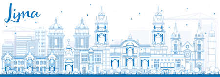 Outline Lima Skyline with Blue Buildings. Vector Illustration. Business Travel and Tourism Concept with Lima City. Image for Presentation Banner Placard and Web Site.