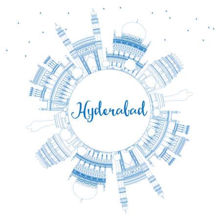 Outline Hyderabad Skyline with Blue Landmarks and Copy Space. Vector Illustration. Business Travel and Tourism Concept with Historic Buildings. Image for Presentation Banner Placard and Web Site. Vetores