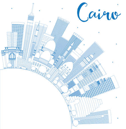 cairo: Outline Cairo Skyline with Blue Buildings and Copy Space. Vector Illustration. Business Travel and Tourism Concept with Historic Buildings. Image for Presentation Banner Placard and Web Site.