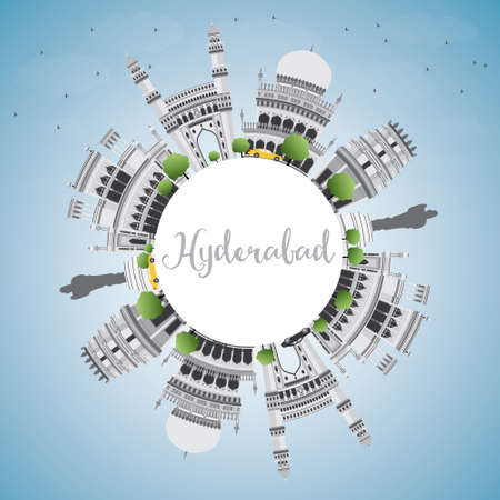 Hyderabad Skyline with Gray Landmarks, Blue Sky and Copy Space. Vector Illustration. Business Travel and Tourism Concept with Historic Buildings. Image for Presentation Banner Placard and Web Site. Vetores