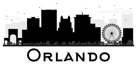 orlando: Orlando City skyline black and white silhouette. Vector illustration. Simple flat concept for tourism presentation, banner, placard or web site. Cityscape with landmarks