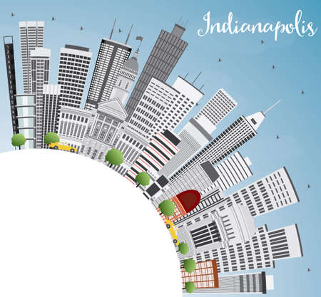 indianapolis: Indianapolis Skyline with Gray Buildings, Blue Sky and Copy Space. Vector Illustration. Business Travel and Tourism Concept with Modern Buildings. Image for Presentation Banner Placard and Web Site. Illustration