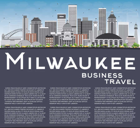 milwaukee: Milwaukee Skyline with Gray Buildings, Blue Sky and Copy Space. Vector Illustration. Business Travel and Tourism Concept with Modern Buildings. Image for Presentation Banner Placard and Web Site.
