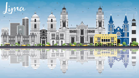 Lima Skyline with Gray Buildings, Blue Sky and Reflections. Vector Illustration. Business Travel and Tourism Concept with Lima City. Image for Presentation Banner Placard and Web Site.