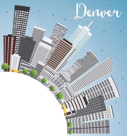 De Horizon van Denver met Grijze Gebouwen, Blauwe Hemel en Kopie Ruimte. Vector Illustratie. Business Travel en Toerisme Concept met moderne gebouwen. Afbeelding voor Presentatie Banner Placard en Website.
