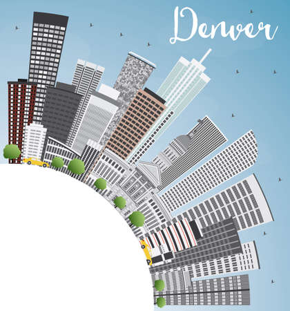 denver city skyline: Denver Skyline with Gray Buildings, Blue Sky and Copy Space. Vector Illustration. Business Travel and Tourism Concept with Modern Buildings. Image for Presentation Banner Placard and Web Site.