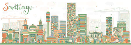 santiago: Abstract Santiago Chile Skyline with Color Buildings. Vector Illustration. Business Travel and Tourism Concept with Modern Buildings. Image for Presentation Banner Placard and Web Site.