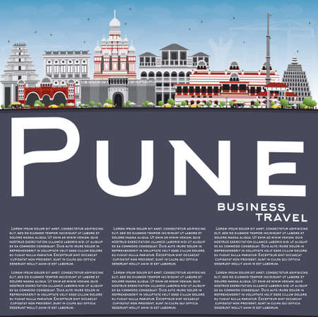 pune: Pune Skyline with Color Buildings, Blue Sky and Copy Space. Vector Illustration. Business Travel and Tourism Concept with Historic Buildings. Image for Presentation Banner Placard and Web Site.