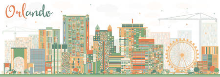 fl: Abstract Orlando Skyline with Color Buildings. Vector Illustration. Business Travel and Tourism Concept with Orlando City. Image for Presentation Banner Placard and Web Site. Illustration