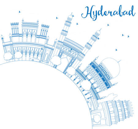 hyderabad: Outline Hyderabad Skyline with Blue Landmarks and Copy Space. Vector Illustration. Business Travel and Tourism Concept with Historic Buildings. Image for Presentation Banner Placard and Web Site.