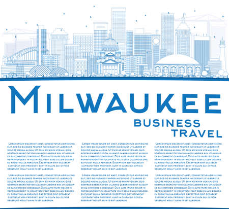 milwaukee: Outline Milwaukee Skyline with Blue Buildings and Copy Space. Vector Illustration. Business Travel and Tourism Concept with Modern Buildings. Image for Presentation Banner Placard and Web Site.