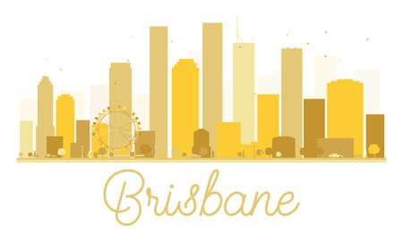 australia landscape: Brisbane City skyline golden silhouette. Vector illustration. Cityscape with landmarks Illustration