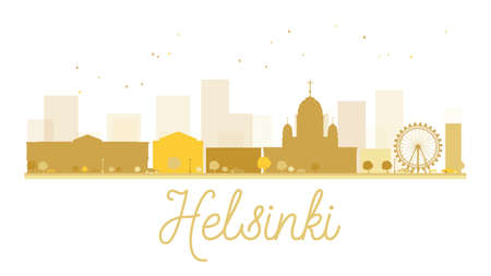 taxi famous building: Helsinki City skyline golden silhouette. Vector illustration. Simple flat concept for tourism presentation, banner, placard or web site. Business travel concept. Helsinki isolated on white background