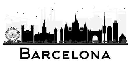 Barcelona City skyline black and white silhouette. Vector illustration. Simple flat concept for tourism presentation, banner, placard or web site. Business travel concept. Cityscape with landmarks Ilustração