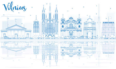 Outline Vilnius Skyline with Blue Landmarks and Reflections. Vector Illustration. Business Travel and Tourism Concept with Historic Buildings. Image for Presentation Banner Placard and Web Site.  イラスト・ベクター素材