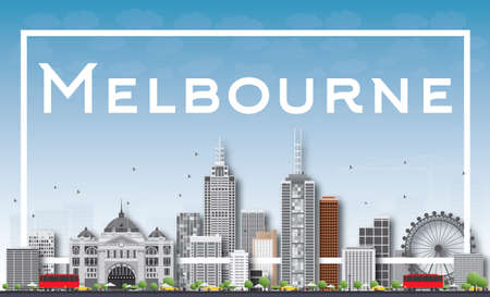 melbourne: Melbourne Skyline with Gray Buildings and White Frame. Vector Illustration. Business Travel and Tourism Concept with Modern Buildings. Image for Presentation Banner Placard and Web Site.