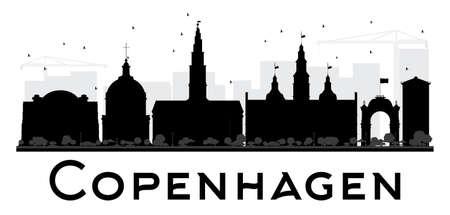 Kopenhagen Skyline der Stadt Schwarzweiss-Silhouette. Vektor-Illustration. Einfache Wohnung Konzept für den Tourismus-Präsentation, Banner, Plakat oder auf der Website. Business-Travel-Konzept. Stadtansicht mit Sehenswürdigkeiten
