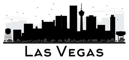 Las Vegas City skyline black and white silhouette. Vector illustration. Simple flat concept for tourism presentation, banner, placard or web site. Business travel concept. Cityscape with landmarks