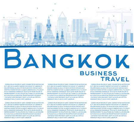 bangkok city: Outline Bangkok Skyline with Blue Landmarks and Copy Space. Vector Illustration. Business Travel and Tourism Concept with Bangkok City. Image for Presentation Banner Placard and Web Site.
