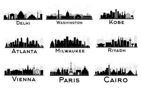 Set van City Skyline Black and White Silhouette. Vector illustratie. Delhi. Washington. Kobe. Atlanta. Milwaukee. Riyadh. Wenen. Parijs. Cairo. Cityscape met oriëntatiepunten