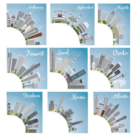 Set of 9 City Skyline with Copy Space. Vector Illustration. Skyline with World Landmarks. Melbourne. Hyderabad. Riyadh. Kuwait. Seoul. Osaka. Brisbane. Hanoi. Atlanta
