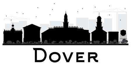 dover: Dover City skyline black and white silhouette. Vector illustration. Simple flat concept for tourism presentation, banner, placard or web site. Business travel concept. Cityscape with landmarks